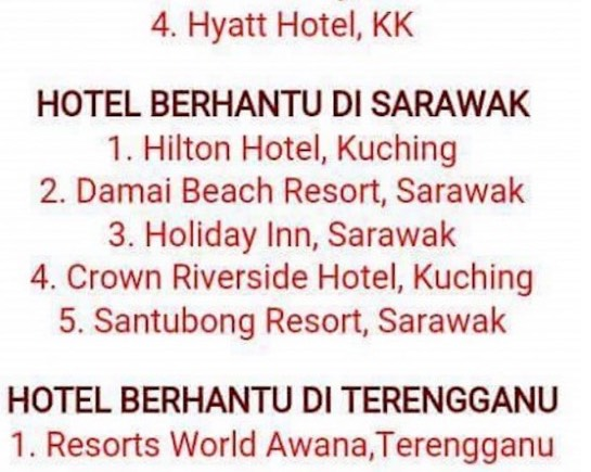 Senarai Hotel Berhantu di Setiap Negeri Di Malaysia