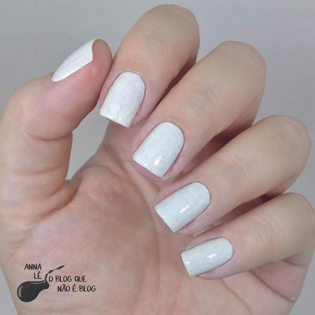 Branquinho Luz Mohda Esmalte Nailpolish Branco Glitter