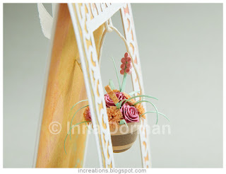 Greeting card with suspended flower pot