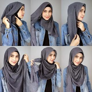 Tutorial Hijab Monochrome Polkadot