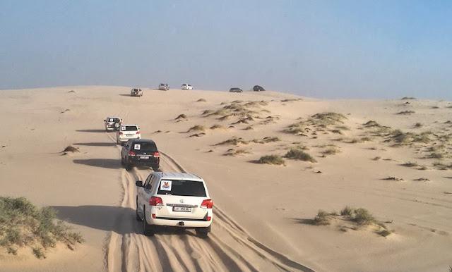 El magnífico Khor Al-Adaid o el Mar Interior de Qatar. Convoy en el desierto
