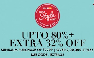 Jabong Super Style Fest: Men's Clothing, Footwear & Accessories – Upto 80% Off + Extra 32% Off on Min Cart Value of Rs.2299