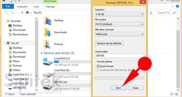 Pengaturan format flashdisk