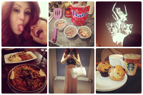 a selection of Instagram shots from francescasoph (francesca sophia); francesca sophia and another girl pulling faces at the camera; a selection of ramekins filled with chocolate; the one republic band logo; a paella on a table, francesca sophia wearing a long pink maxi skirt with a black crossed crop top; two starbucks muffins on a plate next to an iced macchiato and a cup of coffee