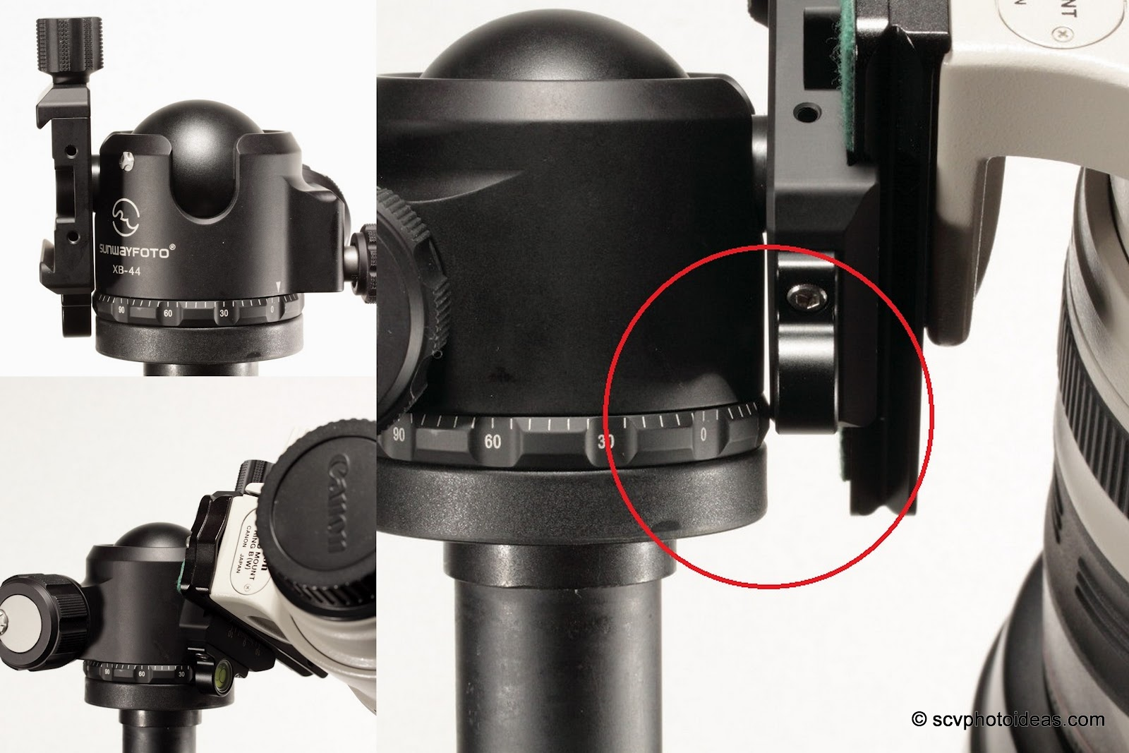 Sunwayfoto XB-44 clamp vs panning base tele