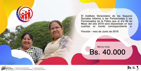 IVSS pagará este miércoles 22 de mayo Bs. 40 mil por pensión de junio