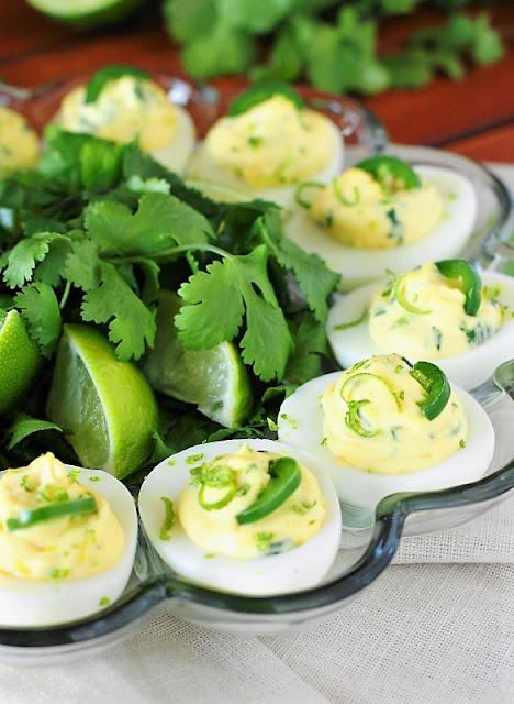 Jalapeno-Lime Deviled Eggs in an Egg Plate image