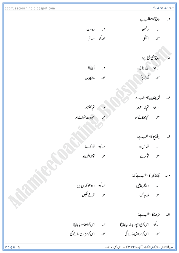 surah-al-anfal-ayat-59-to-64-mcqs-islamiat-10th