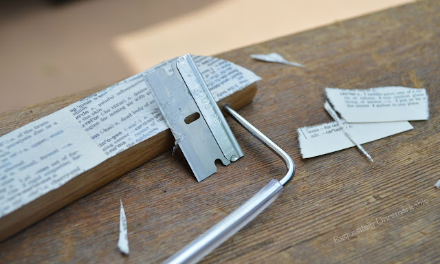 Razor blade on wooden hanger with book page scraps
