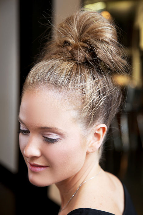 Maybe She's Crazy: Top Knot...Testing out a new hairstyle.