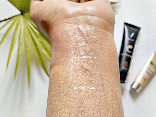 Faces CC Cream Vs Garnier BB Cream: comparison, review, swatches