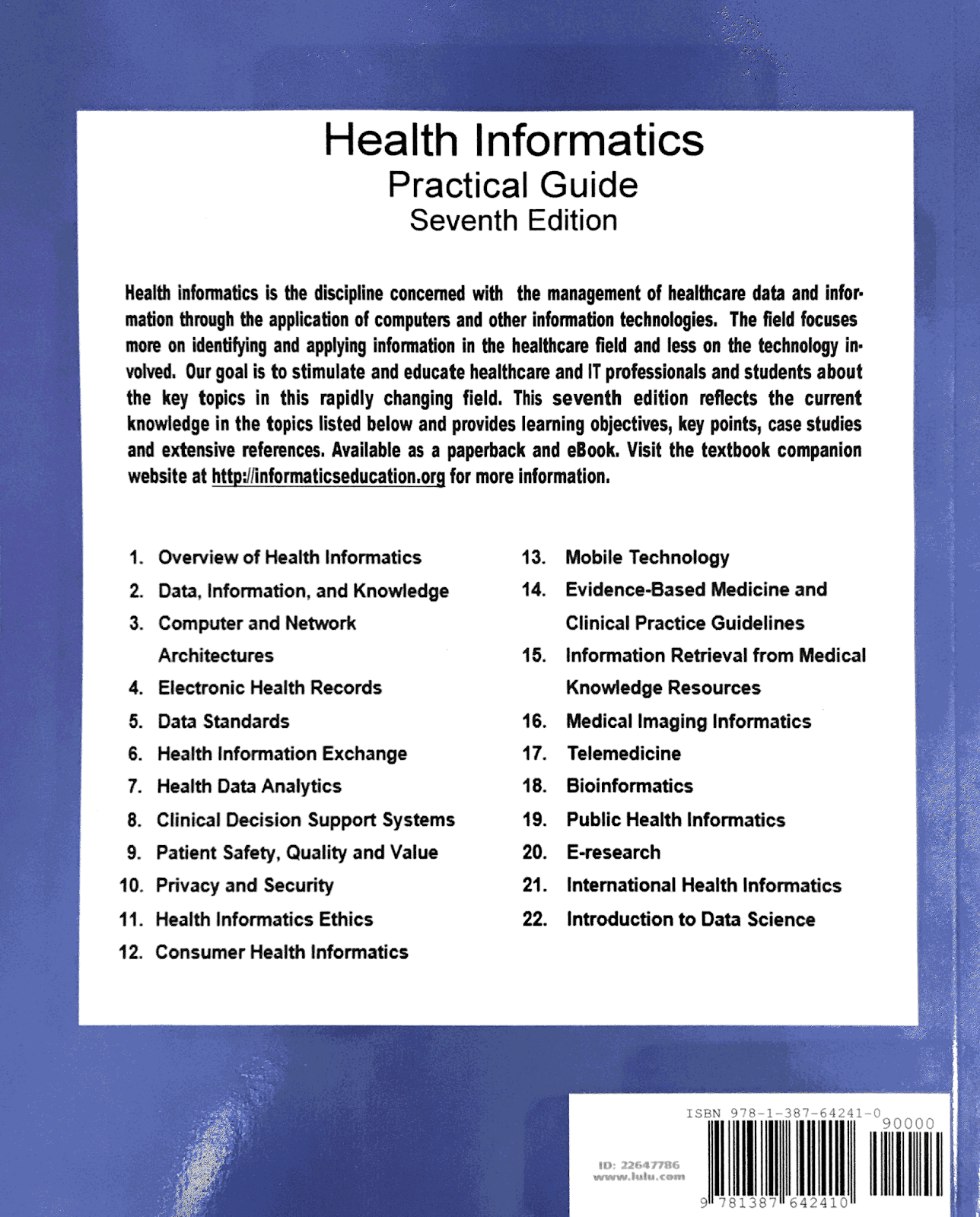 Informatics professor the book is available for purchase on the lulu web site in both print and ebook pdf formats the book will also be made available from the more fandeluxe Gallery