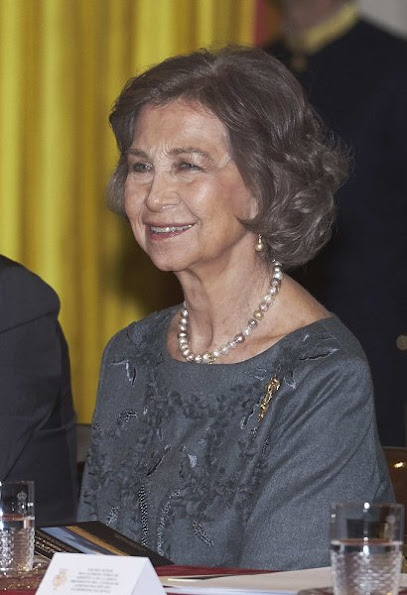 Queen Sofia Iberoamerican Poetry 2016 award ceremony Spanish author Antonio Colinas, Queen Sofia style dresses handbags