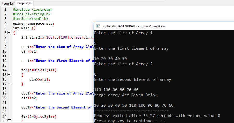 C++ Program To Merge Ascending And Descending Array Into The Third Array