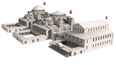 Реконструкция: 1 - сгоревшая базилика Феодосия II; 2 - первоначальный вид собора Святой Софии; 3 - здание собора после восстановления в 989 году