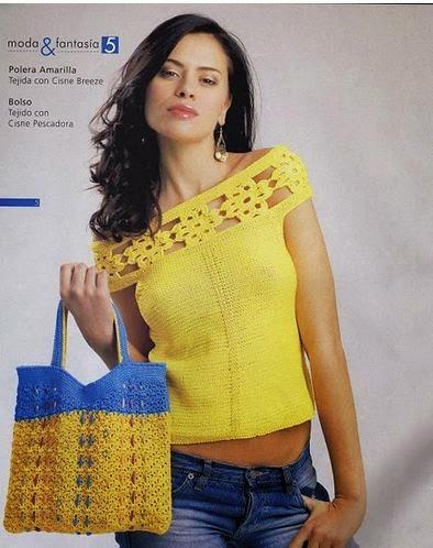 Blusa crochet escote bote calado