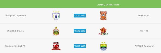 Jadwal Liga 1 Jumat 4 Mei 2018 - Siaran Langsung Indosiar & OChannel