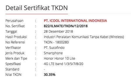 TKDN Honor 10 Lite
