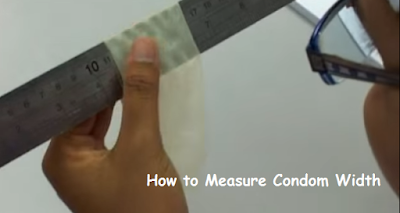 pic shows the proper way to measure condom width