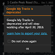 My Tracks no longer available after April 30, 2016