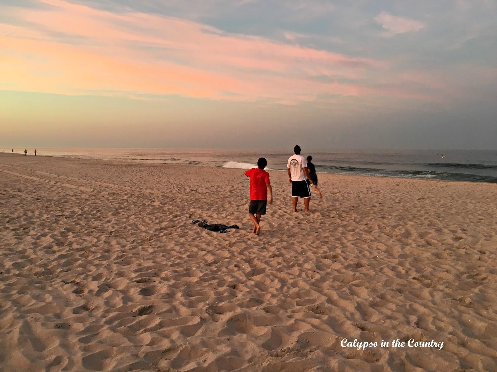 Jersey Shore beach at sunset