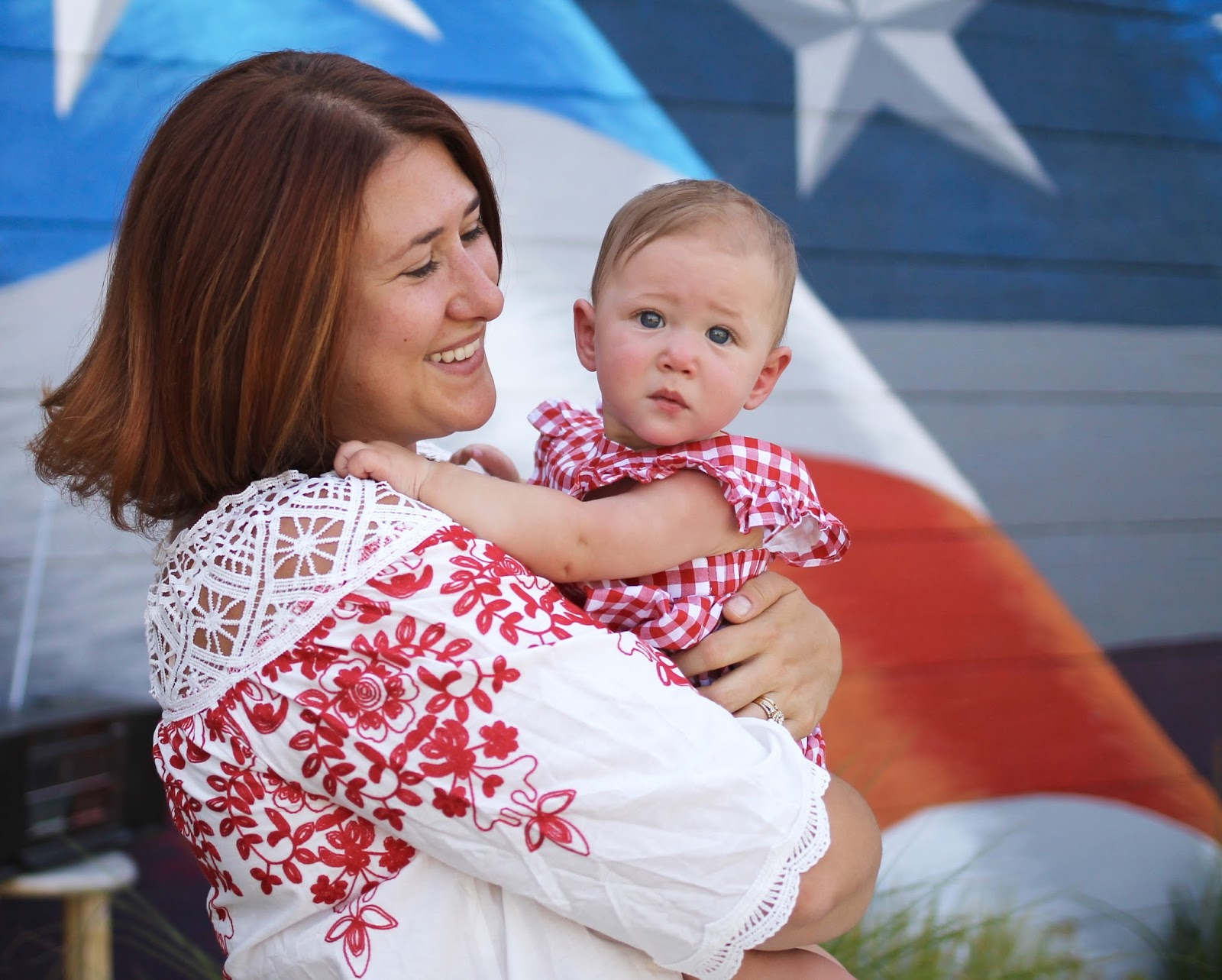 mommy and me fourth of july outfits, romper,shein embroidered top, madewell winifred drop hem jeans