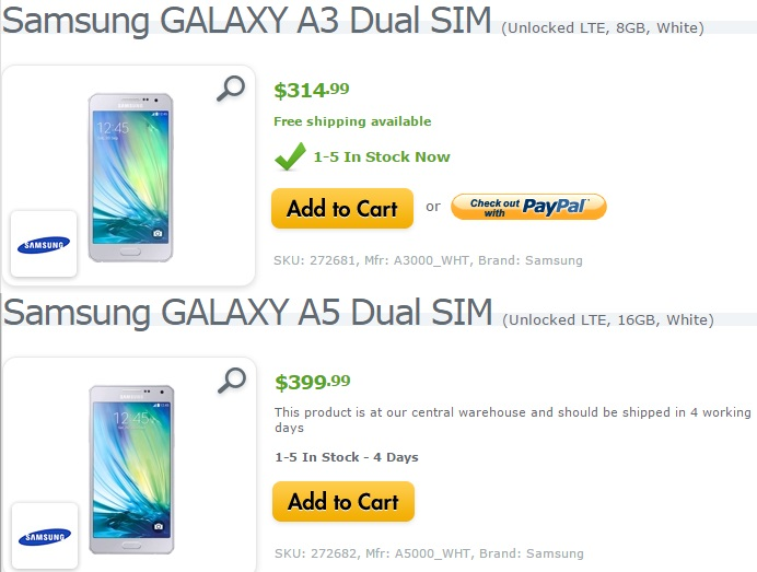 Price of SIM free Galaxy A3 in USA