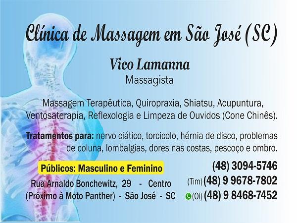 Massagem para dores na coluna em São José SC - Vico Massagista (48) 3094-5746