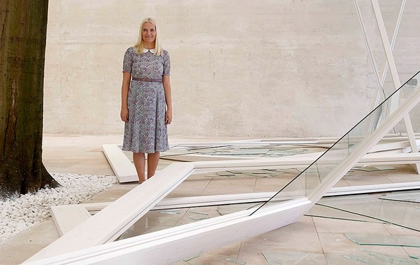 Princess Mette-Marit of Norway attended the opening ceremony of the Nordic Pavilion at the 56th International Art Exhibition (Biennale d'Arte) titled 'All the Worlds Futures' on May 6, 2015 in Venice, Italy.