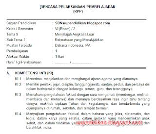 Download RPP Kelas 6 Tema 9 Kurikulum 2013 Revisi 2018