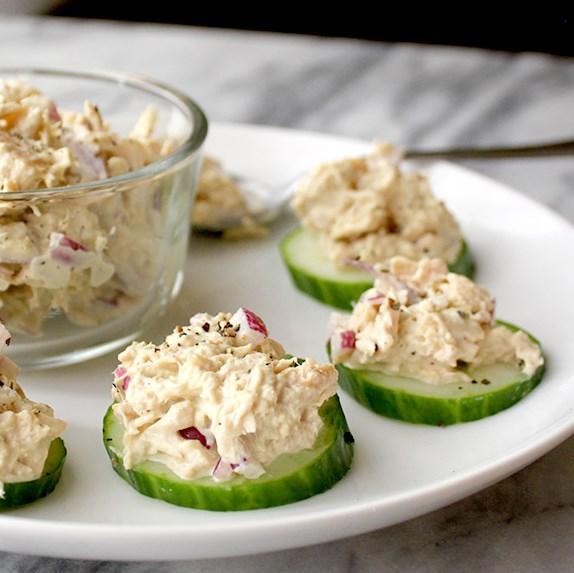 Tuna Salad Cucumber Bites #paleo #easy