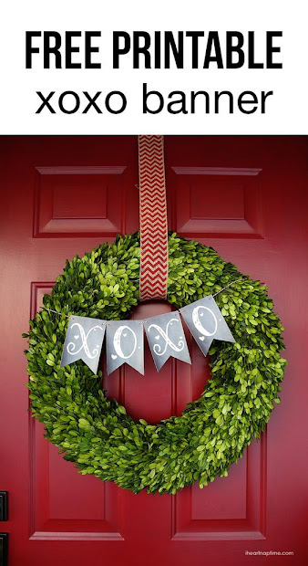 xo banner on boxwood wreath