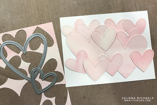 Die Cut Card Background Tutorial by Juliana Michaels featuring Lawn Fawn Watercolor Petite Paper Pack and Stitched Hearts Stackables Die Set
