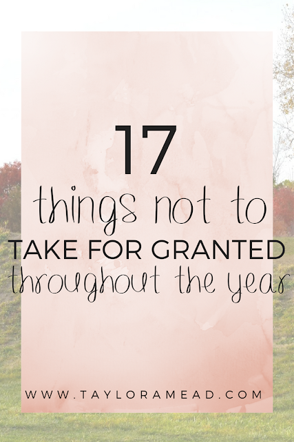 17 Things Not to Take for Granted Throughout the Year - Taylor A Mead