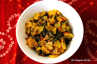 dry curry of Spinach and radish