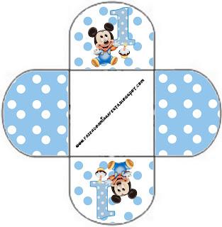 Mickey Baby Azul Poa Kit Completo Com Molduras Para Convites