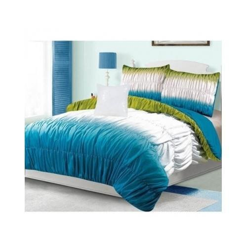 Teal Turquoise Blue And Lime Green Comforter Bedding Set