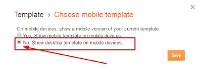 menonaktifkan mobile template