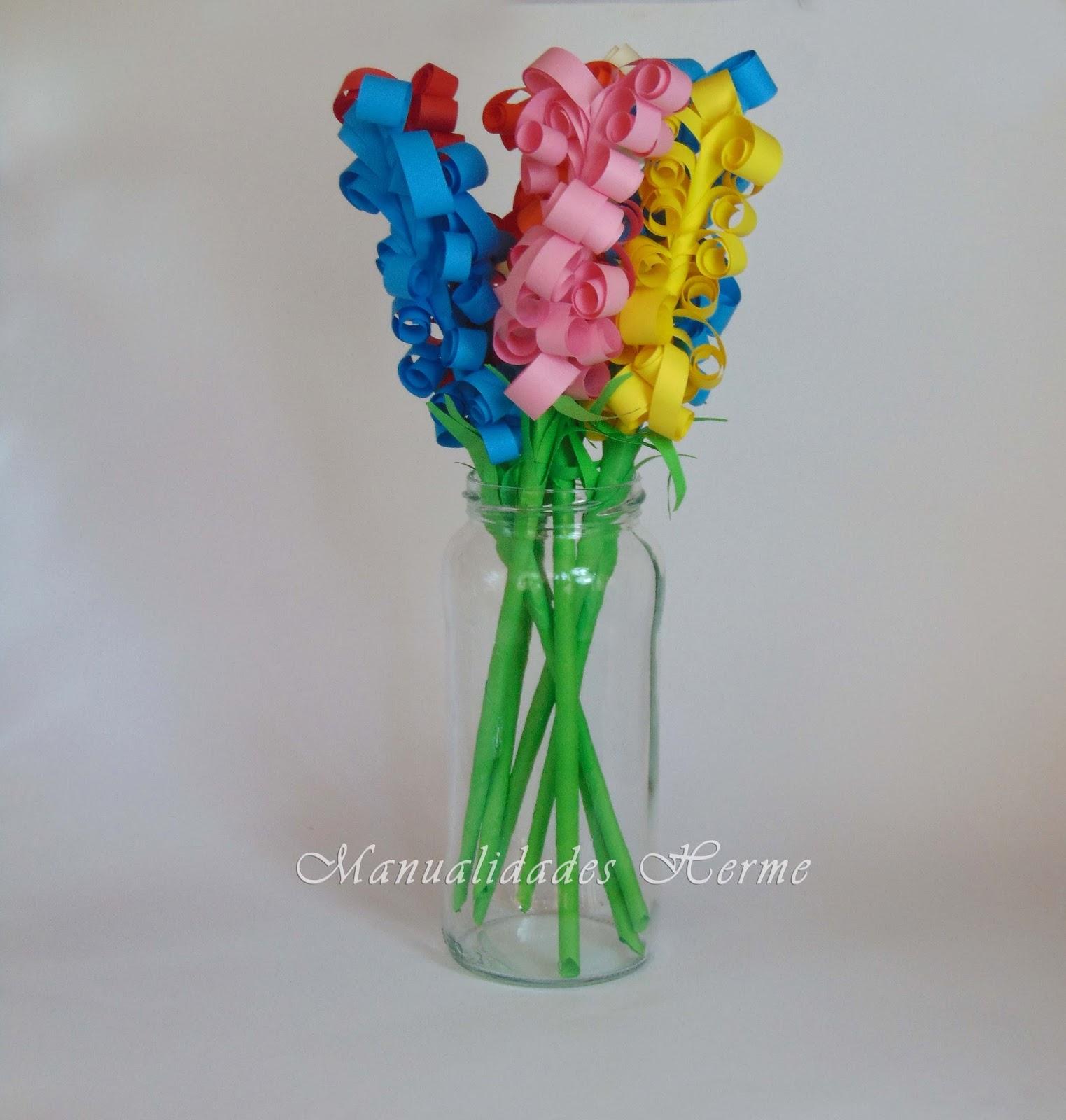 Manualidades herme como hacer flores de papel jacintos - Manualidades con papel de colores ...