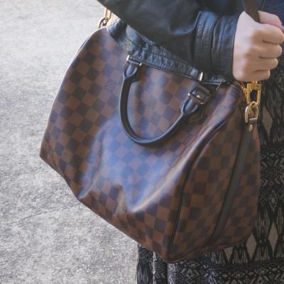 Louis Vuitton Damier Ebene speedy printed maxi skirt | AwayFromTheBlue