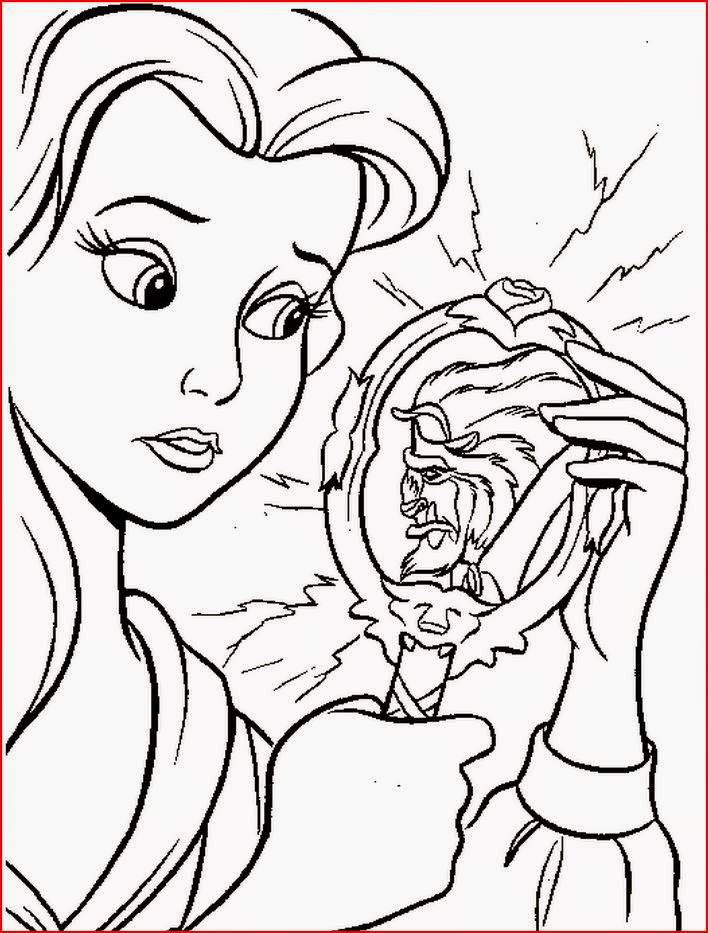 Disney movie princesses belle coloring pages for Beauty and the beast free coloring pages