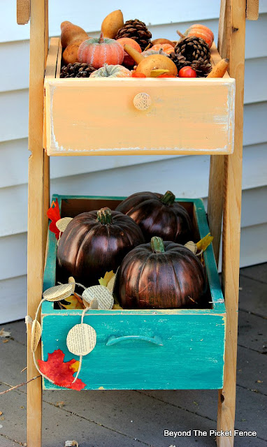 pumpkins, fall garland, gourds, drawers, porch, http://bec4-beyondthepicketfence.blogspot.com/2015/09/ushering-in-autumn-bit-by-bit.html
