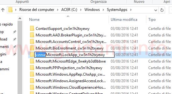 Rinominare cartella schermata blocco Windows 10 Anniversary Update