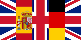 Flags of Germany, the UK and Spain joined together