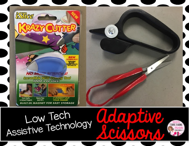 Here are five different tips for Low Tech Assistive Technology.  Click through to see how you can use fidgets, quiet kits, bumpy seats, visual timers and adaptive scissors in the classroom to help students stay focused during learning.