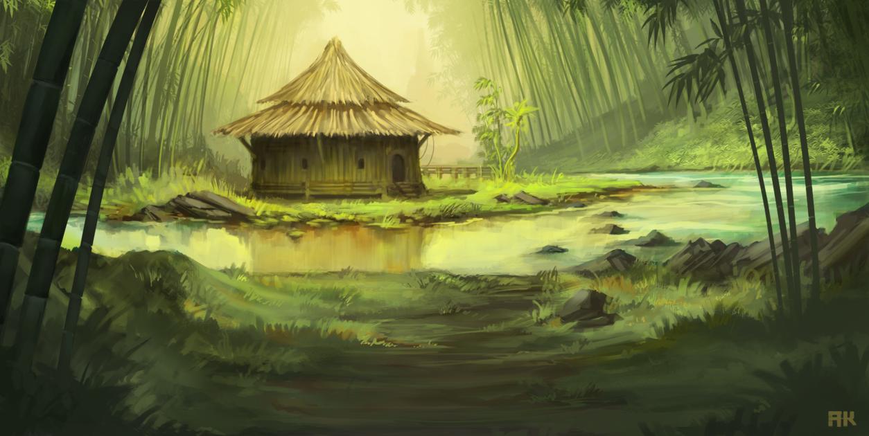 Huts Drawing