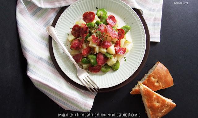Insalata cotta di fave stufate al vino, patate e salame croccante