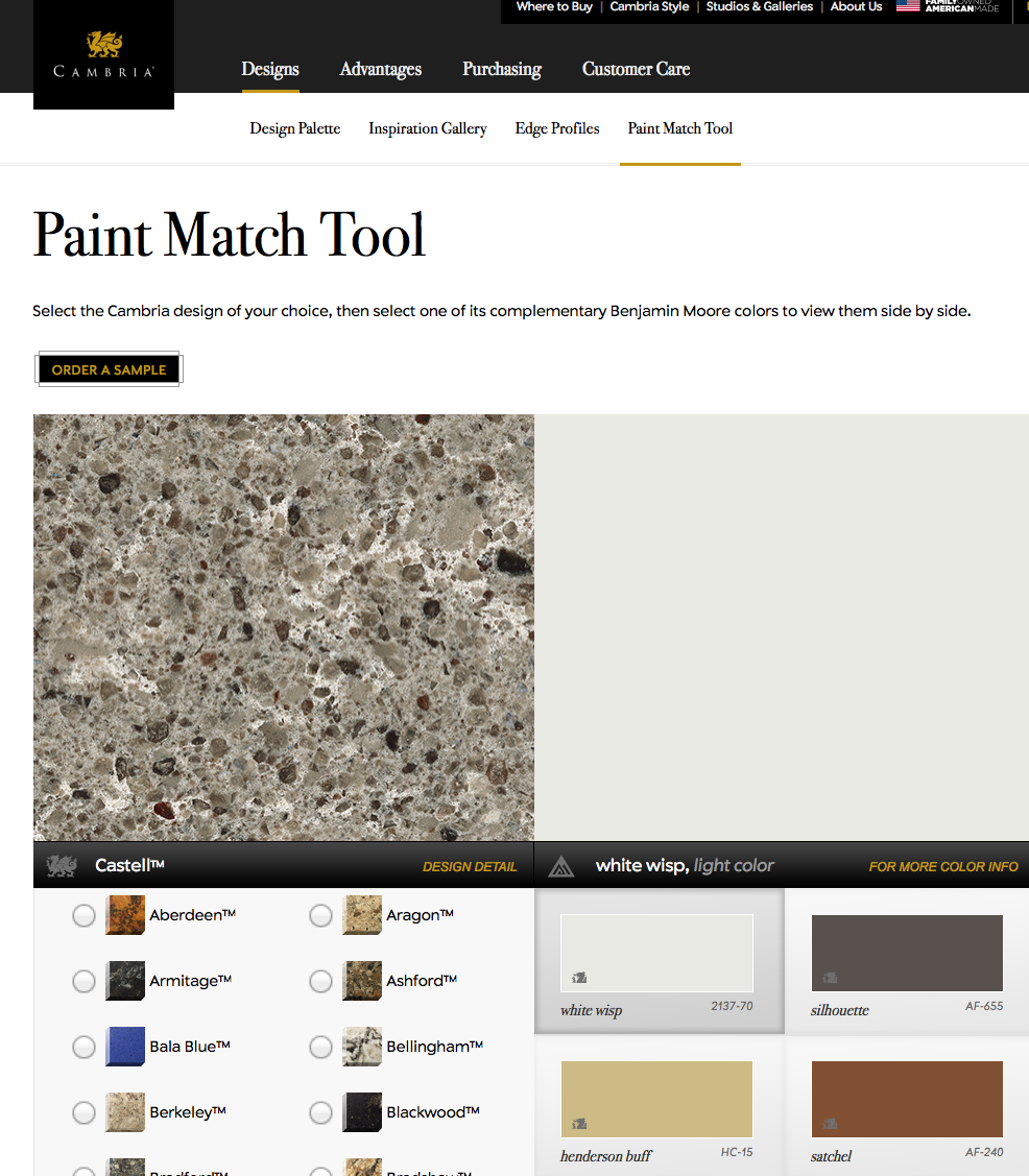Cambria S Paint Match Tool