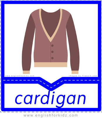 Cardigan - clothes and accessories flashcards to learn English