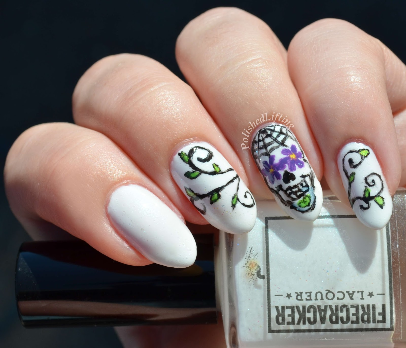 Firecracker Lacquer Unexpected Chill, Sugar Skull, calavera, nail art, sinful colors
